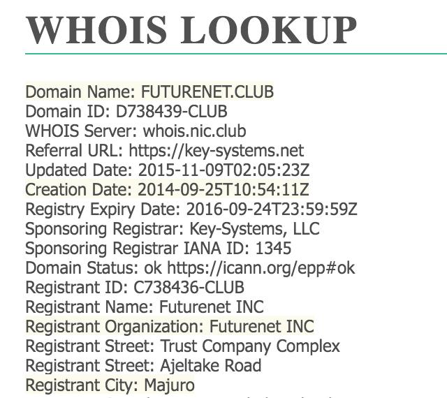 FutureNet Club WHOIS Details: Company Marshall Island