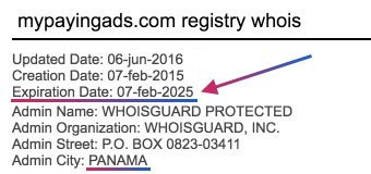 MyPayingAds Whois Registry
