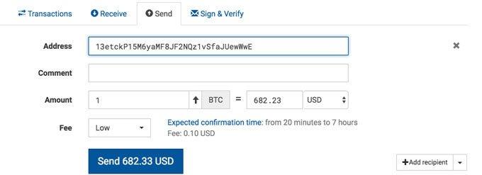 Trezor Send Money